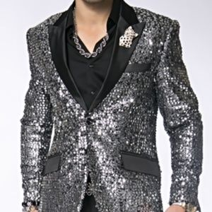 Silver Black Sequin Blazer.